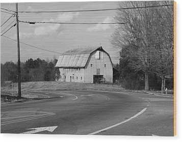 Wood Print featuring the photograph Big Metal Barn In The Curve by Bob Whitt