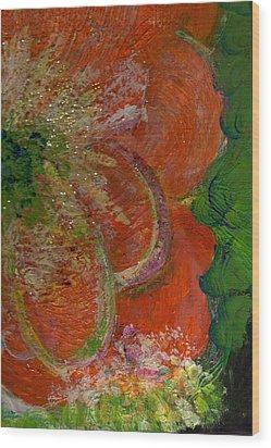 Big Orange Flower  Wood Print by Anne-Elizabeth Whiteway