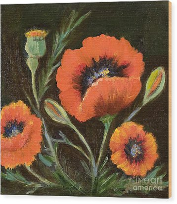 Big Orange Poppy Wood Print