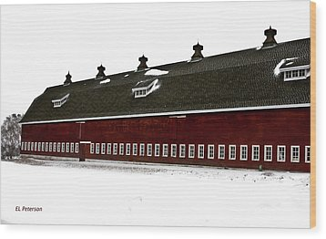 Wood Print featuring the photograph Big Red Barn In Winter by Edward Peterson