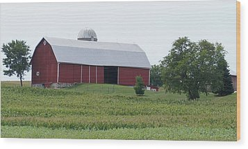 Big Red Barn Wood Print by Kristine Bogdanovich