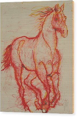 Big Red Wood Print by Elizabeth Parashis