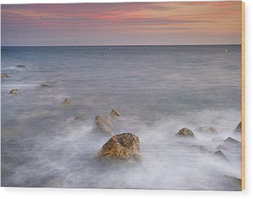 Big Rock Against The Waves Wood Print by Guido Montanes Castillo