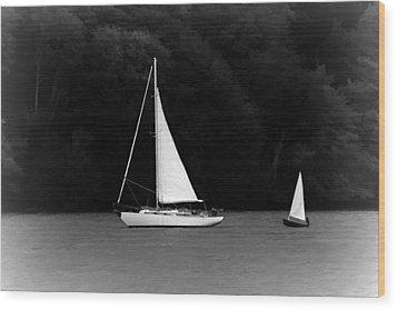 Big Sailboat Little Sailboat Wood Print by Tracie Kaska