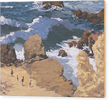 Big Surf At Little Corona Wood Print by Mark Lunde