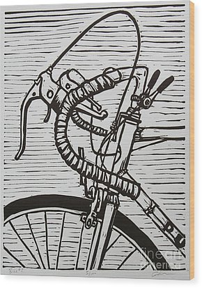 Wood Print featuring the drawing Bike 2 by William Cauthern