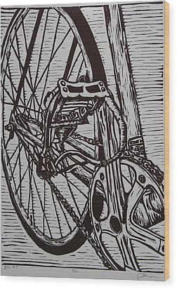 Wood Print featuring the drawing Bike 3 by William Cauthern
