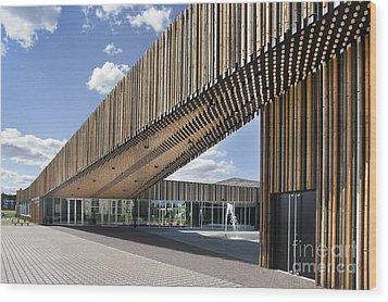 Bike Racks At A Modern Office Building Wood Print by Jaak Nilson