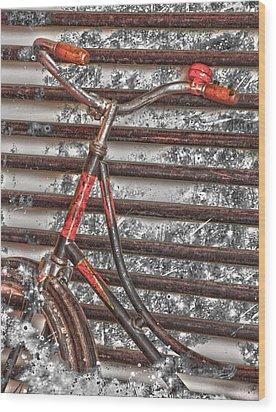 Bikelock Wood Print by Jerry Cordeiro