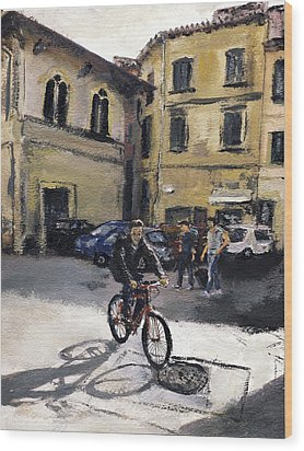 Biker Florencia Wood Print by Randy Sprout