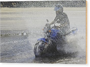 Biker  Making A Splash Wood Print by Kantilal Patel