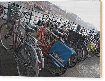 Wood Print featuring the digital art Bikes In Amsterdam by Carol Ailles