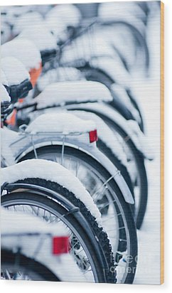 Wood Print featuring the photograph Bikes In Snow by Andrew  Michael