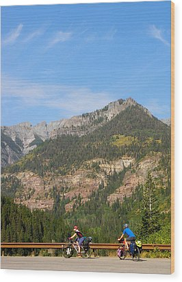 Biking Above Ouray Wood Print by FeVa  Fotos