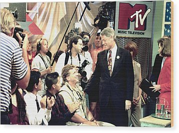 Bill Clinton Appears With Young Wood Print by Everett
