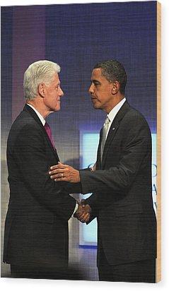 Bill Clinton, Barack Obama At A Public Wood Print by Everett