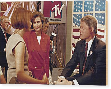 Bill Clinton, Being Interviewed Wood Print by Everett