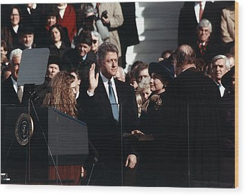 Bill Clinton Center, Taking The Oath Wood Print by Everett