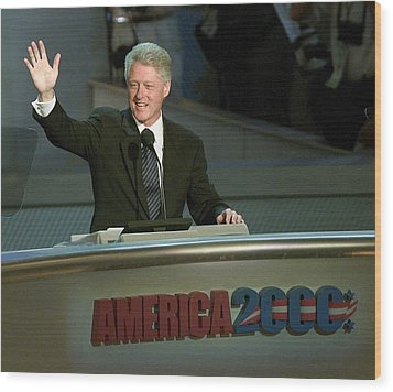 Bill Clinton, Touched By Emotion Wood Print by Everett