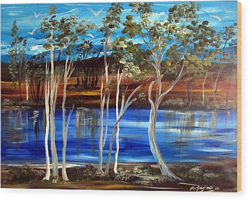Wood Print featuring the painting Billabong by Roberto Gagliardi