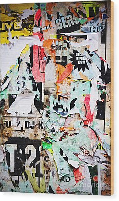 Billboard With Old Torn Posters Wood Print by Richard Thomas
