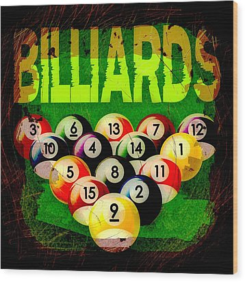 Billiards Abstract Wood Print by David G Paul
