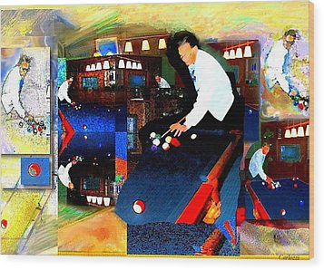 Billiards Wood Print by Martha Carlozzi