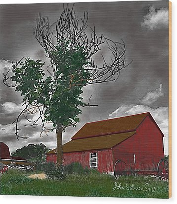 Bills Barn   Red Wood Print