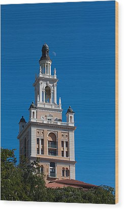 Wood Print featuring the photograph Biltmore Hotel Tower And Moon by Ed Gleichman