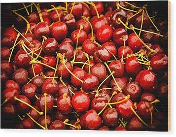 Bing Cherries Wood Print by Jen Morrison