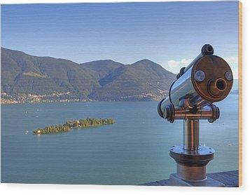 Binoculars Focused On The Isole Di Brissago Wood Print by Joana Kruse