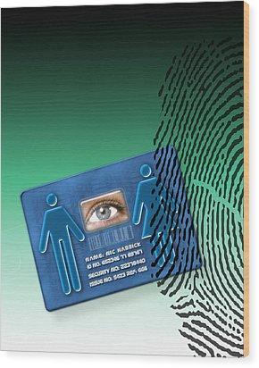 Biometric Id Card Wood Print by Victor Habbick Visions