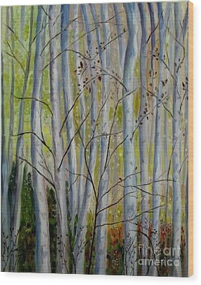 Wood Print featuring the painting Birch Forest by Julie Brugh Riffey