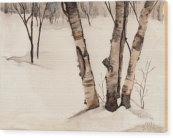Birch Trees In The Snow Wood Print by Barb Kirpluk