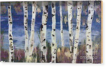 Birches Wood Print by Cathy Weaver