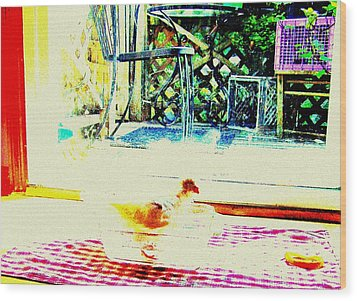Wood Print featuring the mixed media Bird Bath by YoMamaBird Rhonda