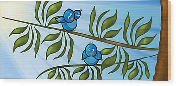 Bird Branch Wood Print by Melisa Meyers