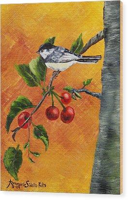 Bird In Chery Tree Wood Print by Annamarie Sidella-Felts