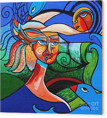 Bird Lady Wood Print by Genevieve Esson