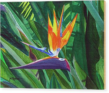Bird-of-paradise Wood Print by Mike Robles