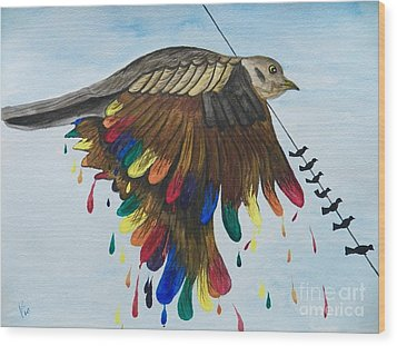 Bird On A Wire Flys Free Wood Print