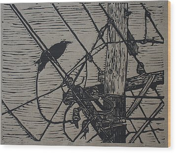Bird On A Wire Wood Print by William Cauthern