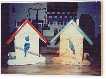 Birdfeeders Wood Print