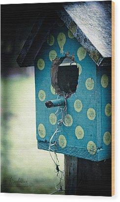 Birdhouse Memories Wood Print by Robin Lewis