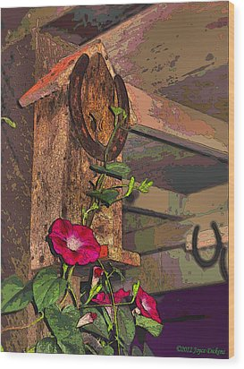 Birdhouse Morning Glories Two Wood Print by Joyce Dickens