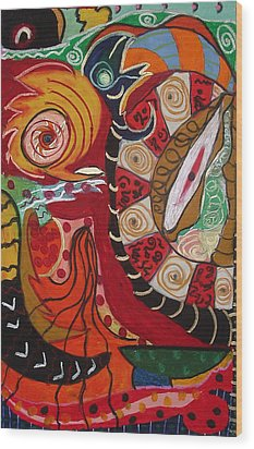 Birds Dragons Whales Wood Print by Clarity Artists