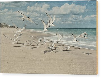 Birds In Flight Wood Print by Cheryl Davis