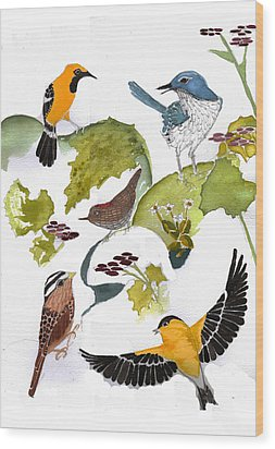 Birds In My Backyard Second In The Series Wood Print by Alexandra  Sanders