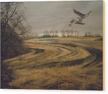 Wood Print featuring the painting Birds In The Autumn by James Guentner