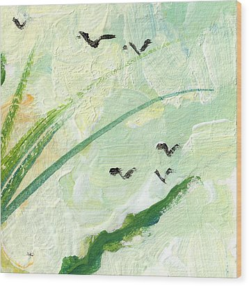Birds Modern Abstract Painting Wood Print by Ginette Callaway